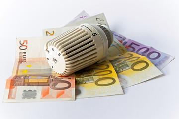 Thermostat, Banknoten, Heizkosten