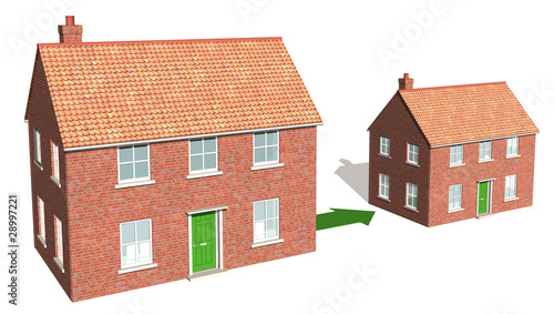 Downsizing, a 3d render of scaled houses 2