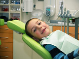 Preschool boy on dental prevention examination