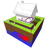 geothermal heat pump diagram poster
