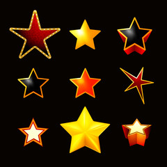 Stars set on black