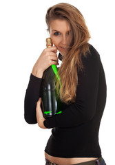 young woman with green bottle of champagne