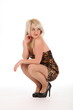 Sexy blonde girl crouches in dress