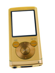 yellow gold mp3 player isolated on white background