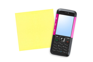 Mobile phone and note paper