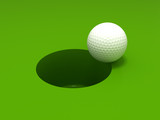 Golf ball and hole