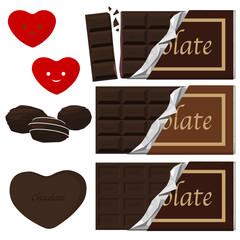 板チョコとハート