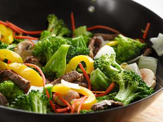 wok beef stir fry with selective focus