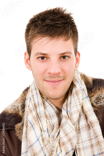 Picture of a young man dressed with winter clothes, isolated