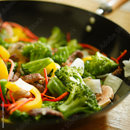 wok stir fry closeup with selective focus