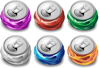 Lattine per Riciclaggio-Crushed Cans for Recycle-Vector