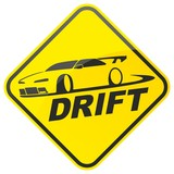 Race drift car warning sign. Vector illustration.