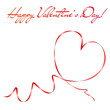 Heart shape made of red ribbon. Valentine's day greeting card