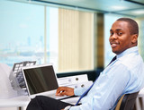 Portrait of a happy African American entrepreneur poster