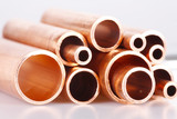 Set of copper pipes of different diameter poster