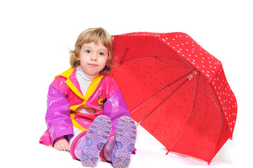 girl with umbrella making face