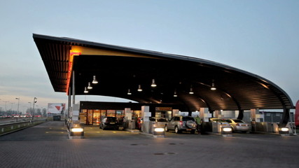 Gas station at sunset in the Netherlands - timelapse