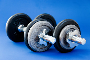 Barbells on Blue