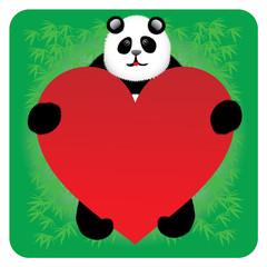 Panda bear with a heart