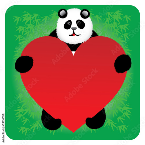 Panda bear with a heart