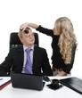 secretary doing make-up to the boss