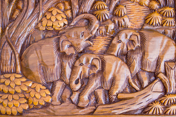 Elephant wood carved