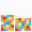 Hexagonal jigsaw puzzles blank templates and colorful patterns