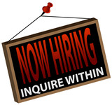 Now Hiring Sign poster