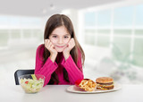 little girl with healthy and unhealthy food at home poster