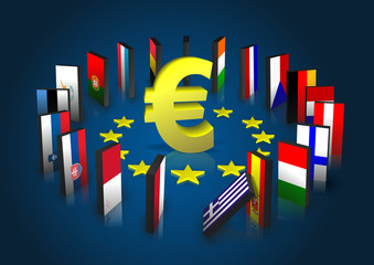 Eurozone kippt - Dominoeffekt - Eurosymbol