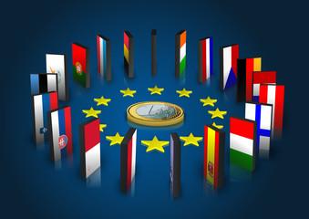 Eurozone - Dominoeffekt - Euro liegend