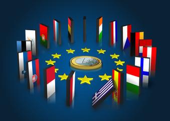 Eurozone kippt - Dominoeffekt - Euro liegend
