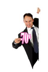 Man,  seventy percent discount sign