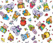 Seamless pattern of cute baby animals