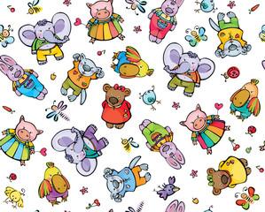 Seamless pattern of cute baby animals