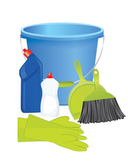 Plastic bucket with cleaning supplies, vector