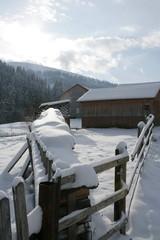 December morning in mountain village