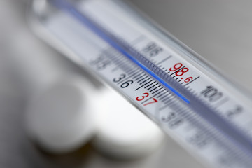 Extreme close up of thermometer