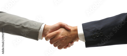 Hand shake of a businessman and a businesswoman isolated.