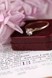 Engagement ring on the Bible open to 1st Corinthians 13 poster