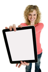 Attractive teenage girl holding an electronic tablet
