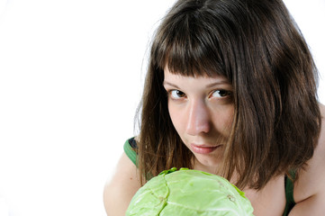 girl with cabbage