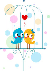 Lovebirds in a Cage