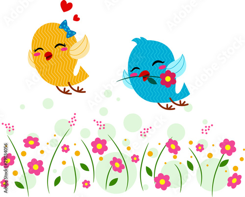 Lovebirds Playing in a Garden