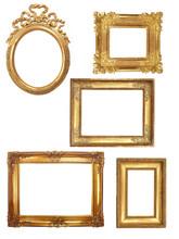 5 alte Holzrahmen auf weißen Hintergrund Gold