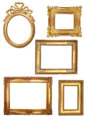 5 cadres anciens en bois doré sur fond blanc