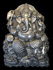 The Ganesha in a Thai temple.Metal relief work pattern