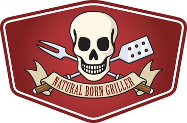 Natural Born Griller Barbecue Logo with skull