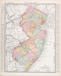 Antique Vintage Color Map of New Jersey, United States, USA
