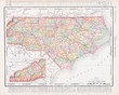 Antique Vintage Color Map of North Carolina NC United States USA